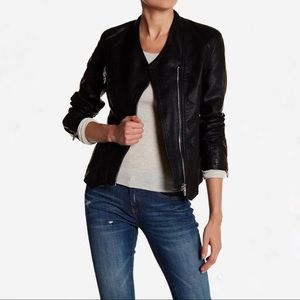 BLANKNYC Collarless Faux Leather Moto Jacket